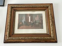 Repeal Of The Black Laws 1864-1865 Print W Primitive Wood And Gesso Wall Frame Lg