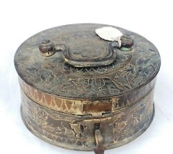 Vintage Collectible Bronze Metal Spices Box Carving Animals Design Old Piece Box