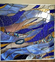 Abstract Stained Glass Transom Panel Window Suncatcher Divider Blue