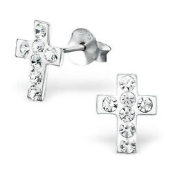 ICYROSE Sterling Silver Small Clear White Crystals Cross Women Stud Earring 2865 $9.95