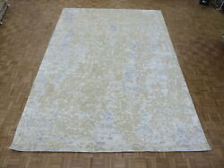10 X 14 Hand Knotted Fine Modern Abstract Oriental Rug With Silk G8206