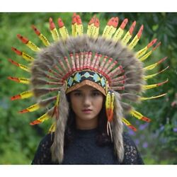 Warbonnet Indian Headdress Yellow Red Monte Goose Fur Brown Native American