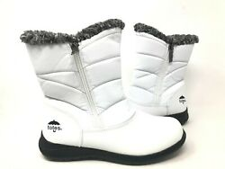 NEW Totes Women#x27;s Jennie Waterproof Winter Boots White Black #120713 170Q tk $55.29