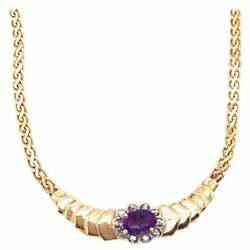 14 Karat Yellow Gold Cable Necklace 0.10 Total Diamond Weight
