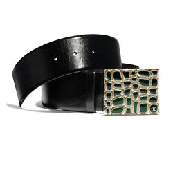 Nwt Pre-fall 19a Gold/green Black Calfskin Belt 75 Cm / 30 In Sold Out