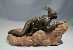 Carl Kauba Cold Painted Bronze Figure Of An American Indian Scout With Rifle