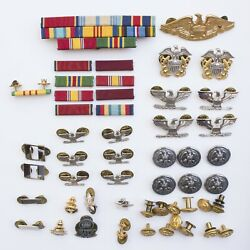 50-piece Lot Us Navy Pins, Buttons And Ribbon Bars Naval Military Anchor Eagle