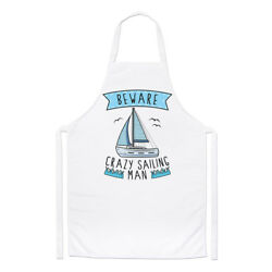 Beware Crazy Sailing Man Chefs Apron - Funny Sport Boat Cooking Baking