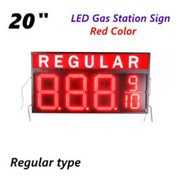 Regular 20 Led Gas Station Electronic Fuel Price Sign Red Motel Price Sign