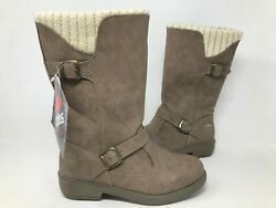 NEW Totes Women#x27;s Maggie Stone Crochet Stappy Fall Boots Brown #120713 170H tk $35.69