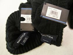 NAUTICA~NWT $49~WOMEN'S BLACK WINTER SCARFHAT SET-SOFT CABLE KNIT 9-12