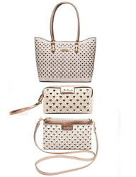 Faux Leather Tote Bag Cross Body Bag Cosmetic Bag Set of 3 Beige AU $95.00