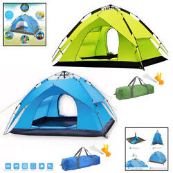 Automatic Pop Up Camping Tent Dual Layer Fabric Outdoor Sleeping Gear   2 People