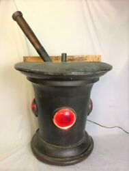 Antique Copper Lighted Mortar And Pestle Apothecary Trade Sign