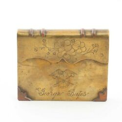 Wwi Verdun Trench Art Engraved Brass Book Lighter Us + French Flags Sept-28-1918