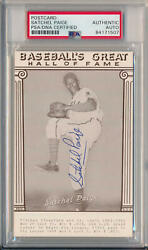 Satchel Paige Signed 1948 Baseball's Great Hall of Fame Exhibit. Mint Auto PSA