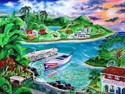 Puerto Rico Scenery W Coqui On Wrapped Canvas Poster Or Framed - Art By Galina