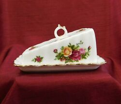 New In Box Royal Albert Old Country Roses Cheese Wedge/butter Dish With Lid