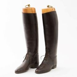 Vintage M.j. Knoud Brown Leather Equestrian Riding Boots Outside Sole Length 11