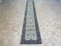 2and0399 X 16and0392 Runner Hand Knotted Beige Black Fine Hereke Tabrez Oriental Rug G7886