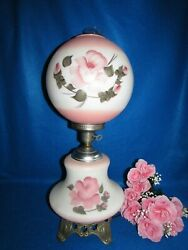 Lg Vtg Gwtw Victorian Banquet Ball Parlor Table Lamp Pink W Flowers 3 Way 26 1/2