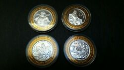 Vintage Limited Edition Caesars Lake Tahoe Casino 10 Fine Silver Gaming Tokens
