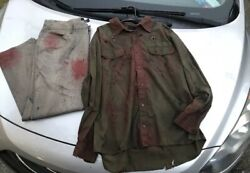 Jason Voorhees Bullet Slashed 2pc Shirt And Pants Set -hand Painted- Read Disc.