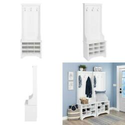 White Narrow Hall Tree 9 Shoe Cubbies 3-Strong Double Coat Hooks Xmas Gift