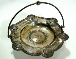 Mid-late 1800and039s Silverplate Handled Fruit Bonbon Bowl Greek Key Pattern And Faces