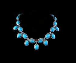 New Latest Antique Rose Cut Diamond 9.10ct Silver 925 Wedding Turquoise Necklace