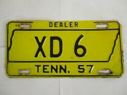 Nice 1957 Tennessee Dealer License Plate Tag