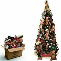 Fraser Hill Farm Gingerbread 152-Piece Holiday Decoration Set with 7.5-Ft.