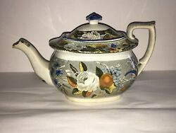La2 Staffordshire Salopian Pearlware Teapot With Bird And Florals Ca. 1820