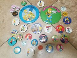 Vintage The Simpsons Button Pin Lot 31 Total W/rare And Limited Pieces