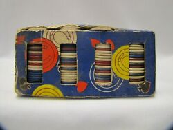 Vintage Poker Chips With Box Thesco Horseshoe Paper Chips