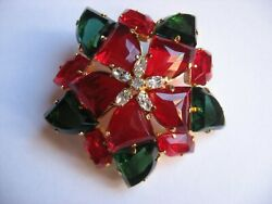 Vtg Beautiful 1962 C Dior Brooch Red Green Clear Christmas Pin For Ugly Sweater