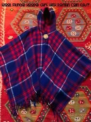 Vintage Hooded Plaid Cape With Coin Clasp