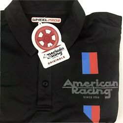 NWT American Racing Custom Wheels Logo Polo Golf Shirt Mens Size Large Black NEW