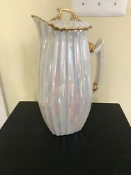 Rare Large Vintage Tandv Limoge Water Pitcher With Lid