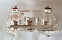Victorian Sterling Silver Ink Well Stand . London 1898 .by Carrington And Co.