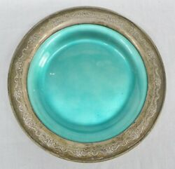 French Provincial Sandwich Plate Sterling Silver Blue-green Enamel Towle 1948