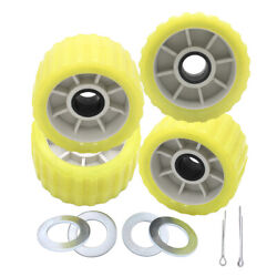 Boat Trailer Amber/yellow Poly Ribbed Wobble Roller Kit 5/ribbed Wobble Roller