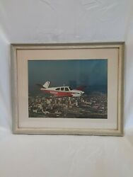 Vintage 60s Aviation Large Framed Photograph In-flight Beech N35 Over The City