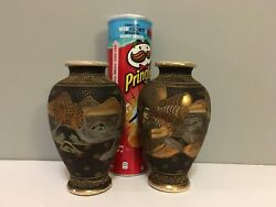 Pair Satsuma-style Japanese Vase Chiral Some Restoration On One Of Them