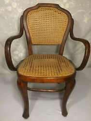 Antique Bentwood Wood Cane Child Arm Chair {chippendale Style}