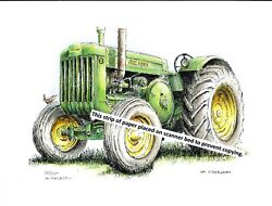 John Deere Farm Tractor Model D Styled Pen And Ink Color Print