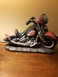 Motorcycle Hog Cycle Wine Bottle Holder Heavy 13 Inches Long And 10 Inches Tall