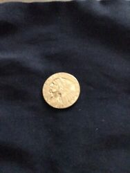 Gold Coin 2/ Half Dollar 24 Carat Gold Coin Is In Very Good Condition Liberty R