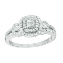 1/2ct Princess-cut Real-diamond Double Frame Engagement Ring In 14k White Gold
