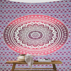 Pink Ombre Mandala Tapestry Cotton Bohemian hippie Wall Tapestry Boho Home Decor